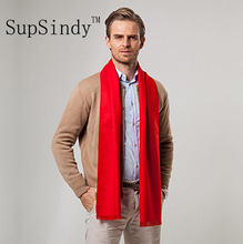 European style Luxury men's scarf Red business casual thick wool scarves imitation cashmere scarves Wrap Warm brushed men 180cm(China)