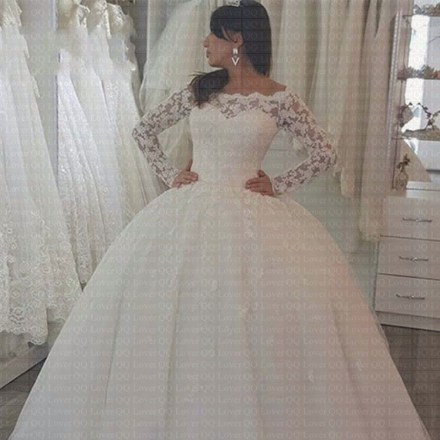 2019 Boat Neck Off the Shoulder Ball Gown Lace Wedding Dress Custom-made Bride Wedding Gown Robe de Soiree Vestido de Noiva