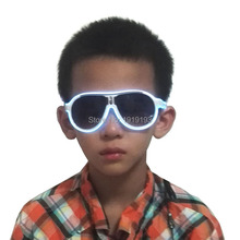 1PCS Fashion COOL EL Wire Glowing Kids LED DJ Bright Light Up Children Flashing Glasses For Birthday holiday light decoration(China)