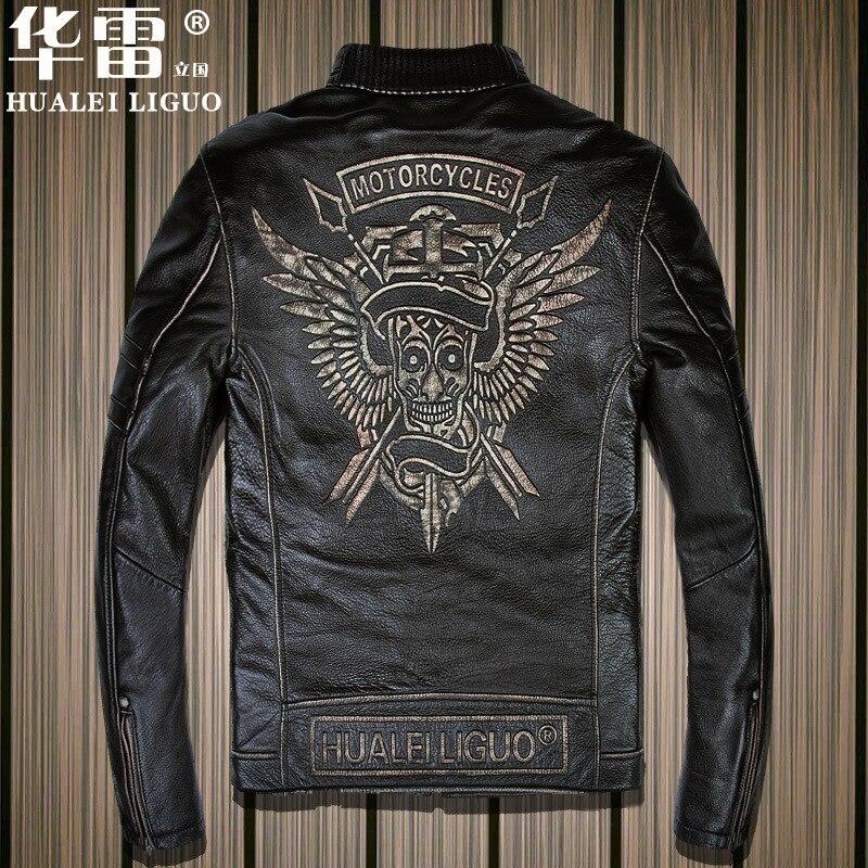 2017 New Vintage Black Men Motorcycle Leather Jacket Stand Collar Real Cowhide Slim Fit Plus Size XXXL Biker Coats