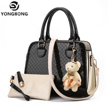 YONGBONG Candy Color 2 Sets Handbags  Lady Patent Leather  Bags Women Famous Brands Designer Totes Fashion Lady Female Shoulder