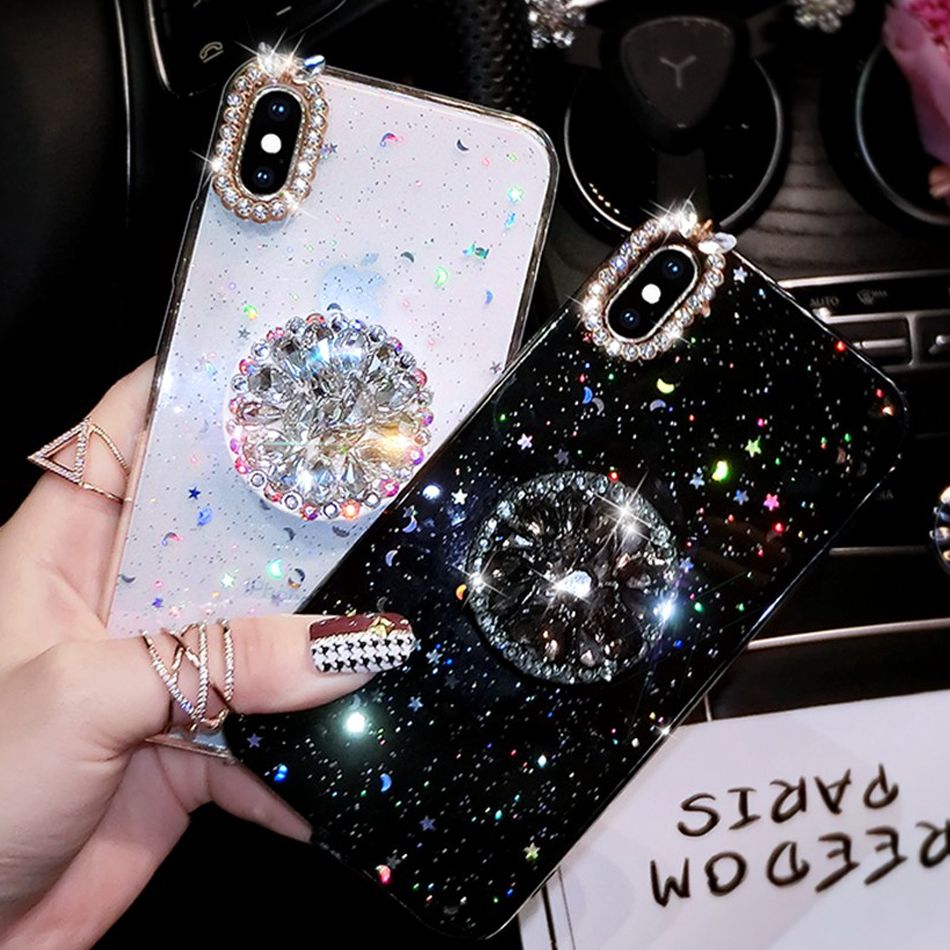 For iPhone 7 8 Case Luxury Glitter Diamond Cover For iPhone X XS Max XR 6 7 8 Plus Rhinestone 3D Grip Stand Holder Phone Cases(China)