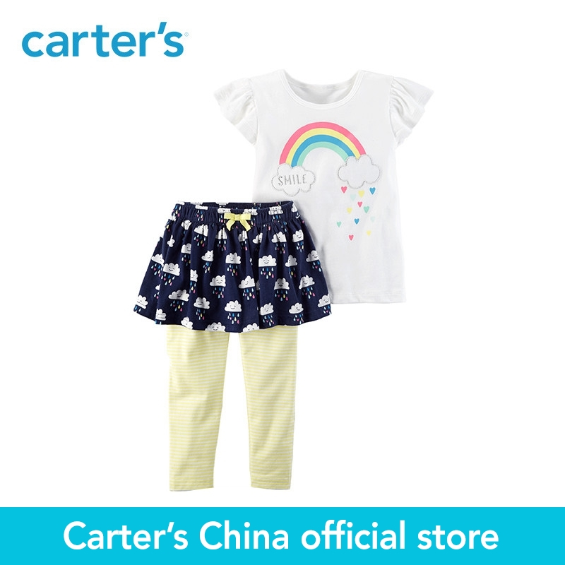 Carters 2-Piece baby children kids clothing Girl summer Flutter Top &amp; Skegging Set 259G577<br>