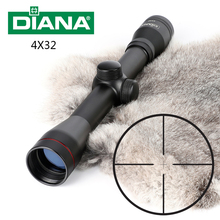 Tactical DIANA 4X32 Riflescope One Tube Glass Double Crosshair Reticle Optical Sight Rifle Scope(China)