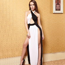 Europe and the United States women's black and white dress  Fashionable nightclub club clothing