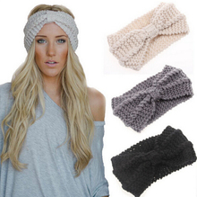 1 PCS Women Lady Crochet Bow-Knot Turban Knitted Head Wrap Hairband Winter Ear Warmer Headband Hair Band Accessories