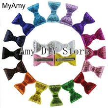 MyAmy Free Shipping 100pcs/lot sequin bows WITH clips embroidered sequin bows girls knot applique kids boutique hair bow
