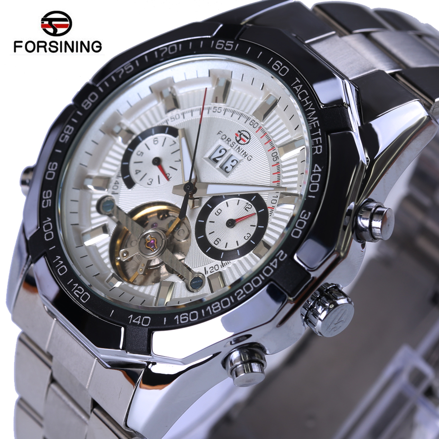 FORSINING Luxury Brand Multifunction Tourbillon Mechanical Watches Stainless steel strap Waterproof Clock Automatic Mens Watch<br>