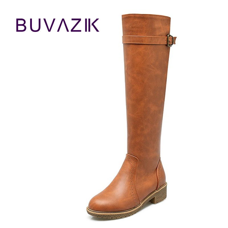 2017 autumn rough female motorcycle high boots leather botas knee high large size long women shoes fashion buckle with zipper <br>