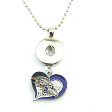 New Arrivals Baltimore Ravens Herat Football team logo Necklace 18mm Snap Button Pendant Jewelry For DIY Women Fans Jewelry(China)
