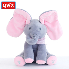 QWZ 30cm Top Quality Plush Animated Flappy Elephant PEEK-A-BOO Singing Baby Music Toys Ears Flaping Move Interactive Doll Gift