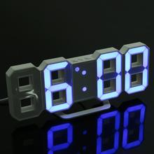 Digital LED Table Clock Brightness Adjustable Modern Electronic Alarm Clock Fashion Wall Hanging Clock with USB Cable(China)