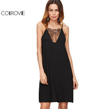COLROVIE Black Lace Cami Dress Women Vintage Floral Lace V Neck Swing Mini Summer Dresses 2017 Fashion Casual Beach A Line Dress