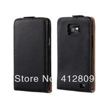 Drop Shipping White Genuine Leather Vertical Style Flip Cover Case for Samsung i9100 Galaxy SII High Quality Free Shipping(China)