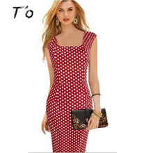 T'O High Grade Women Elegant Classic Tartan Square Neck Tunic Work Business Casual Party Stretchy bodycon Pencil Sheath Dress 31