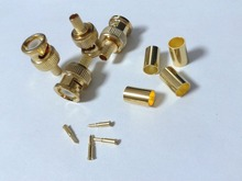 100pcs X Gold plated Crimp on BNC Male RG59 Coax Coaxial adapter For CCTV camera