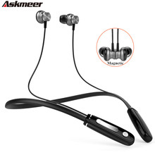 Askmeer Neckband Sport Bluetooth 4.1 Headset Handsfree Magnet Wireless Blue tooth Headphones Stereo Earphones with Mic for Phone