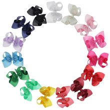 Pack of 15 Big 6 Inch Grosgrain Ribbon Hair Bows Alligator Clips for Toddlers Girls with 2 Hairbow Holders(China)