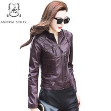 Buy Autumn PU leather jacket women Faux Leather Mandarin Collar Zipper pocket female korea slim mujer invierno plus size short coat for $73.86 in AliExpress store