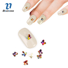 10Pcs/Lot Butterfly Design Colorful 3D Manicure Adhesives Decorations Glitter Flame Glass Stones Rhinestones For Nails Art PJ621(China)