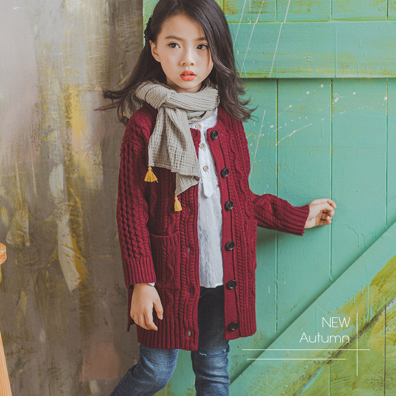 2018 Baby Girls Red Cardigan Floral Design Cute Spring Coat for Children Teenage Spring Clothes Age 456789 10 11 12 Years Old<br>