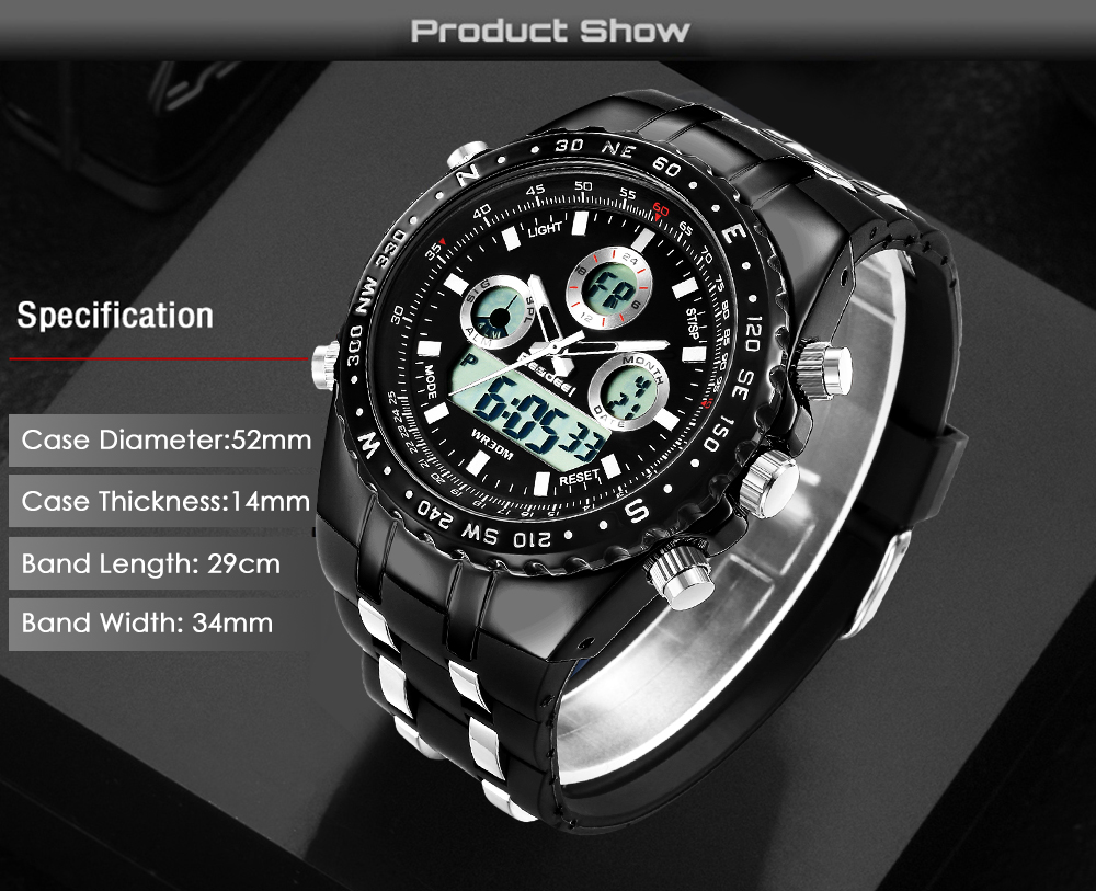 Readeel Top Brand Sport Quartz Wrist Watch Men Military Waterproof Watches LED Digital Watches Men Quartz Wristwatch Clock Male 9