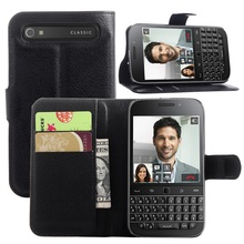 "Cyboris Fundas cover for Blackberry Classic Q20 3.5"" Phone Case flip case Lichee Holster PU Leather with card slot holders"