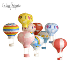 "OURUOLA 10"" 12"" 16"" Rainbow Hot Air Balloon-Style Paper Sky Lantern Kids Birthday Party Wedding Decoration 5pcs/lot"