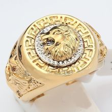 Free shipping Wholesale price 16new ^^^^Men's 19mm Band Ring Cool Lion Eagle Star GP Yellow  Size7.8.9