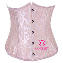 Brand 2014 New Pink Jacquard Sexy Women Underbust Corset Satin Waist Trainer Corsets Cincher Boned Bustier Short CorseletS-2XL(China)