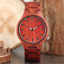 Wooden Men's Watches Full Wood Bangle Quartz Red Maple Handmade Wrist Watch Creative Bracelet Business Clock Best Gift Items(China)