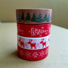 Ayron 1 pcs 15mm X 10 m Snow deer Christmas tree  Decorative Washi Tape DIY Scrapbooking Masking Tape School Office Supply