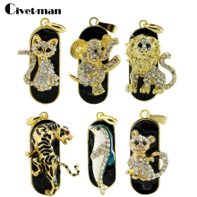 Jewelry Mini Cat/lion/tiger Usb flash drive Necklace 8gb 16gb 32gb pen drive pendrive crystal gift hard disk gadget usb memeory