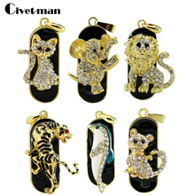 Jewelry Mini Cat/lion/tiger Usb flash drive Necklace 8gb 16gb 32gb pen drive pendrive crystal gift hard disk gadget usb memeory(China)