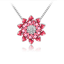 Wholesale New Fashion Accessories Jewelry Silver Plated Popular Sun Flower Crystal Pendant Necklace for Women Girl Gift