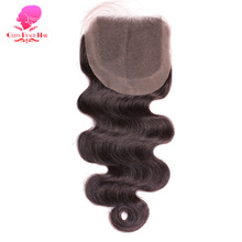 QUEEN BEAUTY HAIR Brazilian Body Wave Closure 4x4 Remy Human Hair Lace Closure Free Part Bleached Knots With Baby Hair