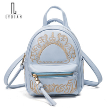 School Bags Teenage Girls 2017 New Fashion Embroidery  Korean Student Blue Backpack Mini Travel Multi-Purpose Small Bags