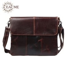 EACME Stylish Business Men Messenger Bags Real Oil Leather Men's Crossbody Bag Thin Fashion OL Shoulder Bag Can Be Widened NEW(China)