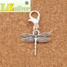 Thin Airfoil Flying Dragonfly Lobster Clasps Charm Beads 17x29.5mm 100pcs Tibetan silver for Glass Living Memory Locket C968