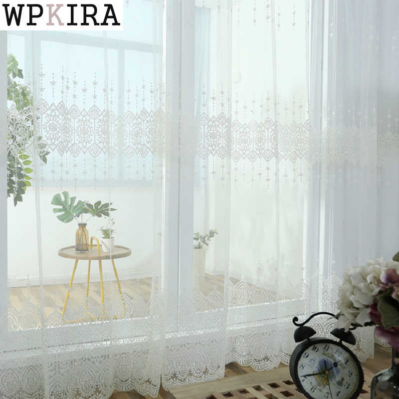 Beige White Yarn Tulle Curtains for Living Room Bedroom Window Treatment Romantic Wedding Ceiling Drapes 022&40