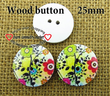 100PCS 25mm drawing design wooden sewing button wood buttons for clothes accessory MCB-771