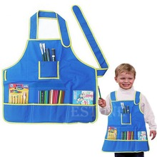 E74  Children's Craft CUTE Apron Smock with 4 Pockets for Painting Kids Art Class