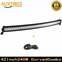"GERMANY STOCK!FREE SHIPPING curved led light bar 42""inch 240W watt COMBO 12v led work light DUAL ROWS led strip lights for truck"