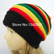 1PCS Knitted Jamaica Rasta Cap Reggae Beanie Stripe Hip Hop Baggy Slouchy Beanies Skullies Hat Black Red Yellow Green(China)