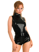 Buy Black Latex PVC Bodysuit Cat Women Sexy Front Crotch Zipper Faux Leather Catsuit Erotic Wet Look Bodycon Punk Fetish Lingerie