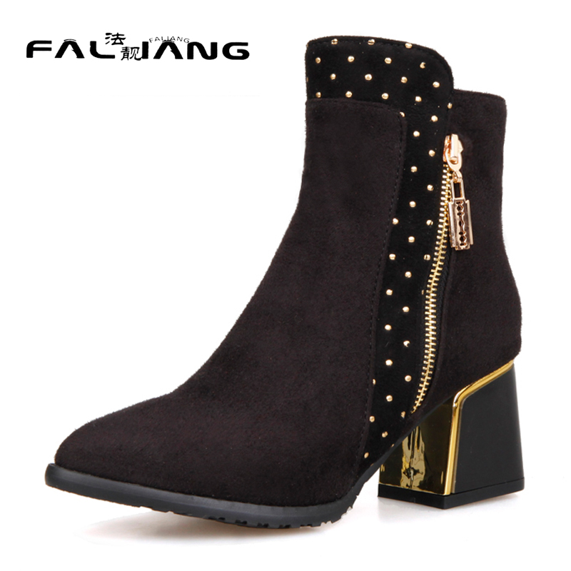 New arrival Winter plus size 11 12 13 14 15 16 17 18 19 20 Fashion Zipper thick high Hand sewn Ankle High Heels Winter Boots<br>