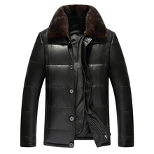 Buy Winter Genuine Leather Coat Men Fashion Leather Coat Men's Leather Coat Thick Real Leather Shepskin Coat mink collar for $329.45 in AliExpress store
