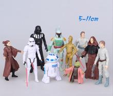 10pcs Disney Star Wars The Force Awakens Anakin Skywalker/Darth Vader Master Yoda R2-D2 First Order Stormtrooper doll toy Kids