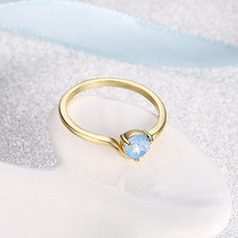 Genuine gold Birthstone Droplet, blue Crystal Finger Ring Women Wedding Jewelry