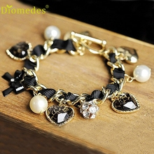 Diomedes New Fashion Girl Favorites Leopard Heart Diamante Bow Bracelets Jewelry Gift Popular Casual Bracelet #0217